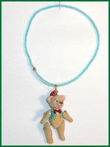 Teddy bear charm bracelet polymer clay and seed beads