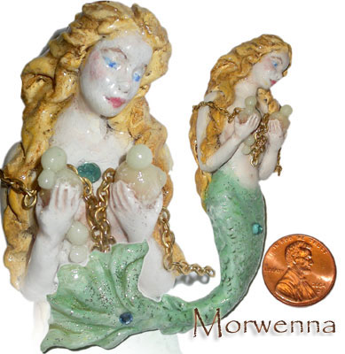 Morwenna the wistful mermaid, clay pin